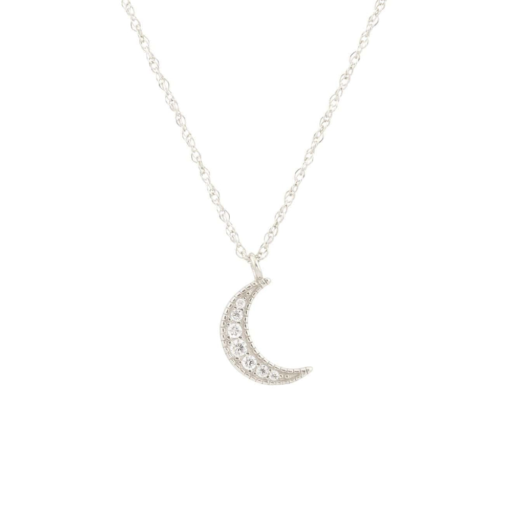 Crescent Moon Pave Charm Necklace