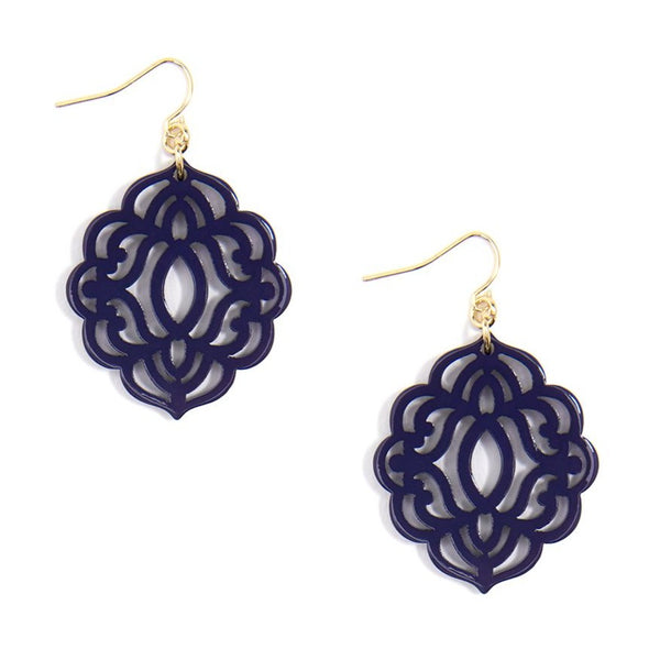 Baroque Resin Drop Earring - Navy