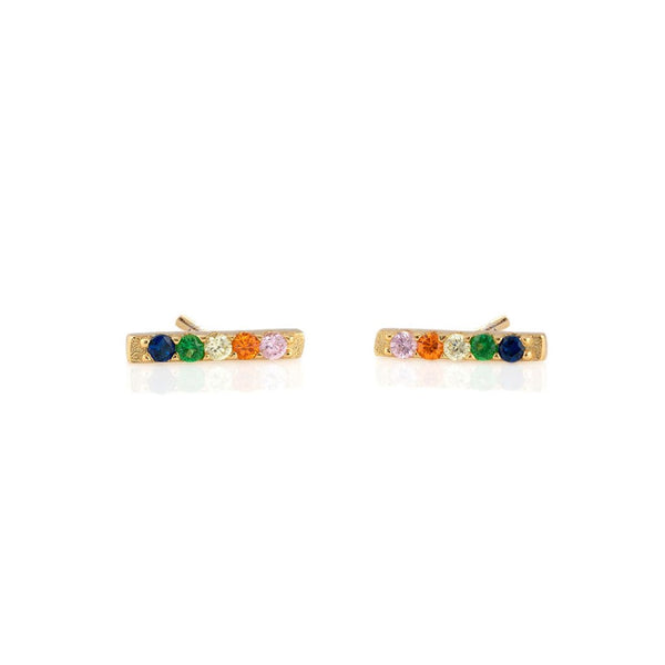 Rainbow Dash Pave Stud Earrings - Gold