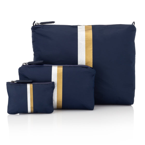 Navy Pouch Collection with a Double Metallic Lines