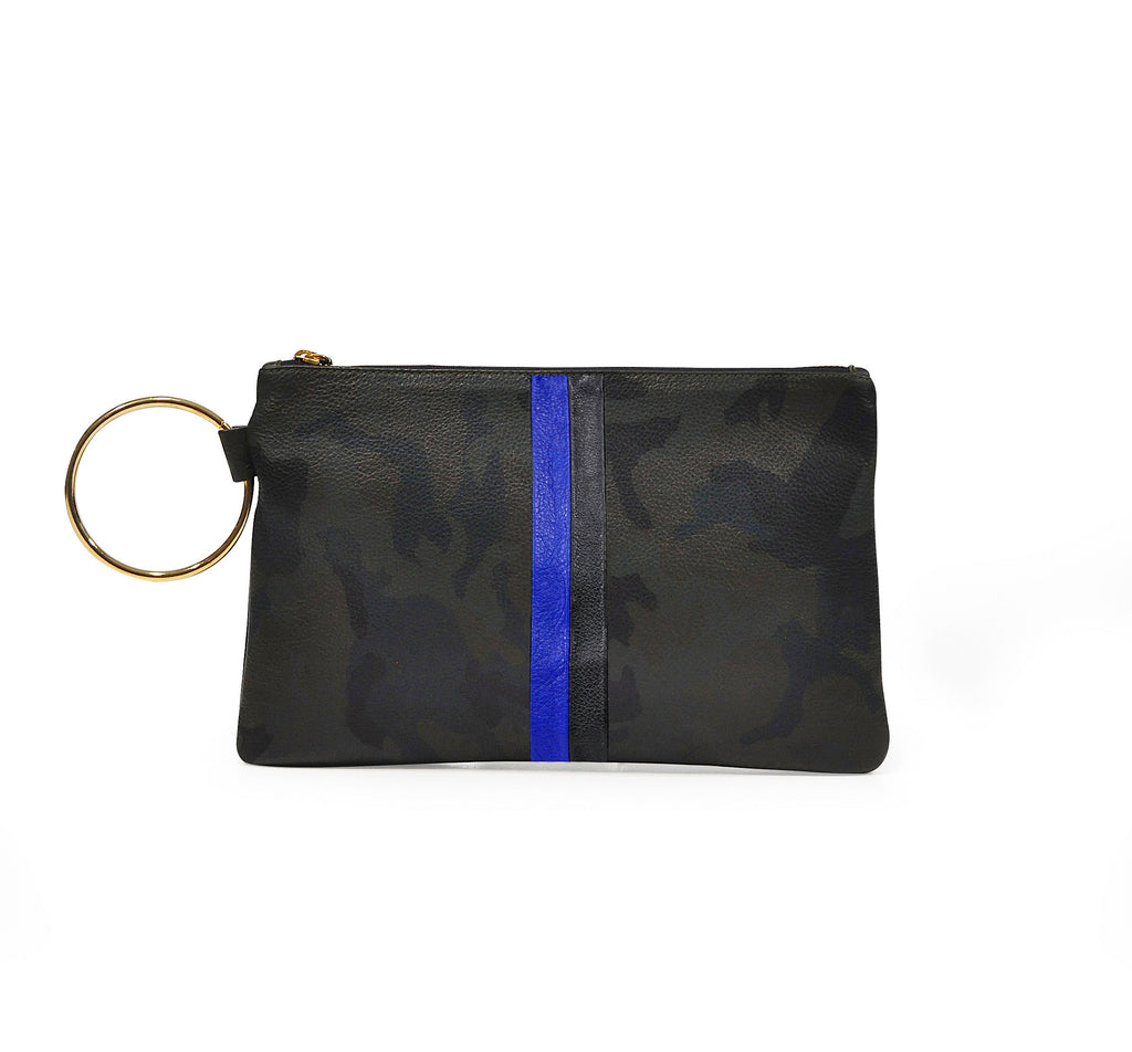 Leather Gavi Clutch - Green Camo with Cobalt and Black Stripes
