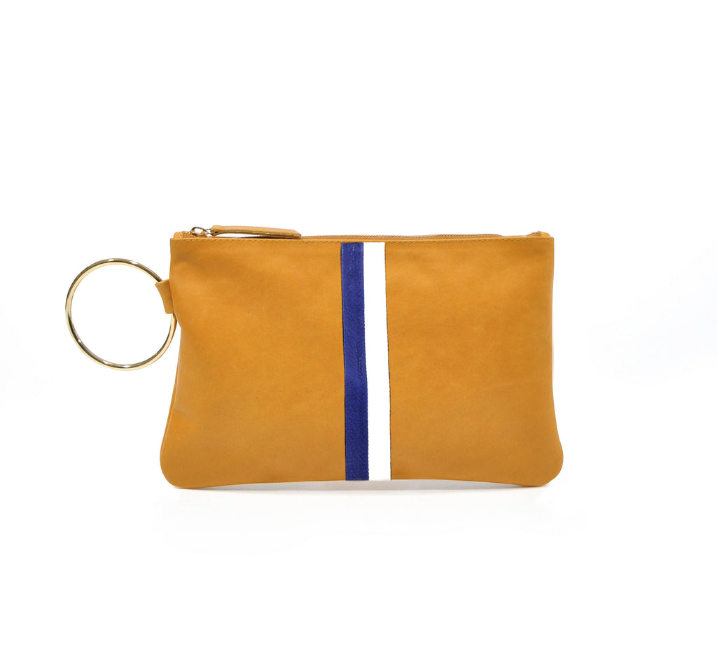 Leather Gavi Clutch - Tan with Blue and White Stripes