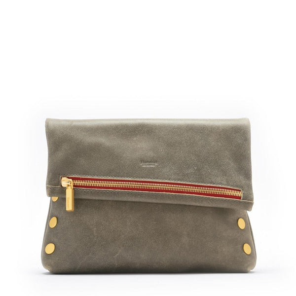 VIP Clutch - Pewter with Gold Hardware and Red Zipper