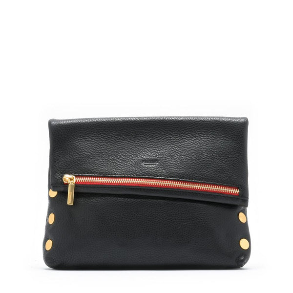 VIP Clutch - Black with Brushed Gold Red Zipper