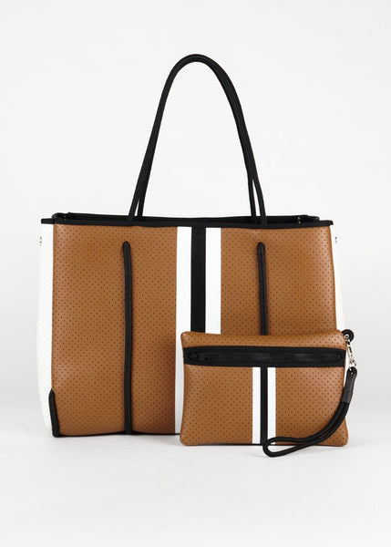 Greyson Neoprene Tote - Tan with White Sides and Stripe