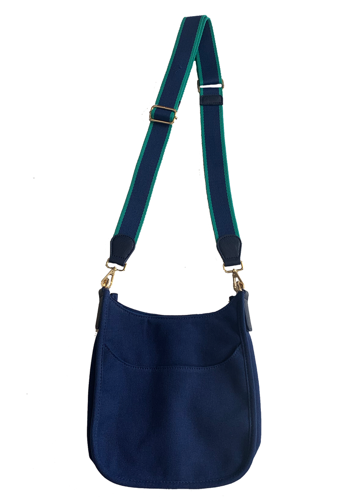 "Canvas Mini Messenger with 2"" Stripe Strap Navy"