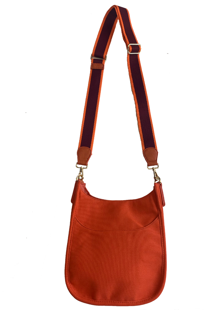 "Canvas Mini Messenger with 2"" Stripe Strap Orange"