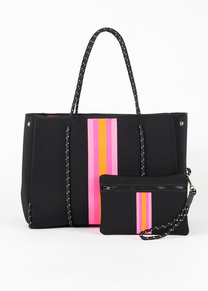 Greyson Neoprene Tote - Black Neoprene w/Hot Pink/Orange Striping