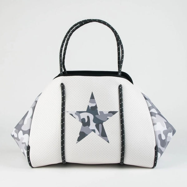 Greyson Neoprene Tote-White Camo with Star