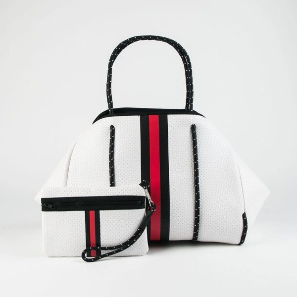 Greyson Neoprene Tote-White with Black and Red Stripe