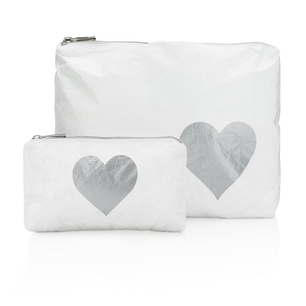 White with Metallic Silver Heart
