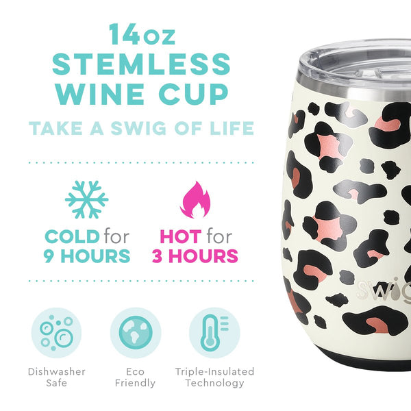 14 oz Stemless Wine Cup - Lux Leopard