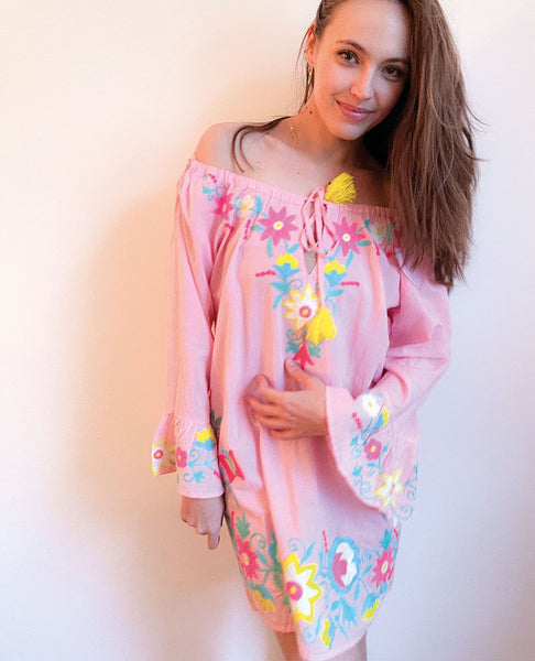 Violetta Embroidered Tunic Pink