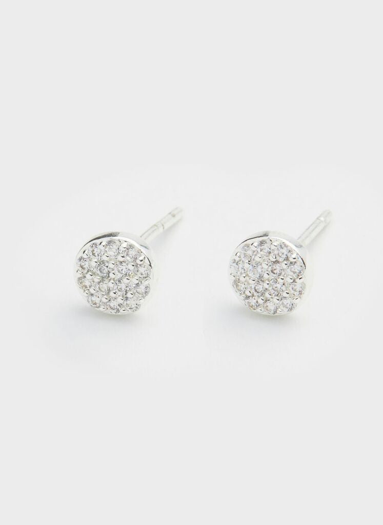 Pristine Charm Shimmer Studs - Silver