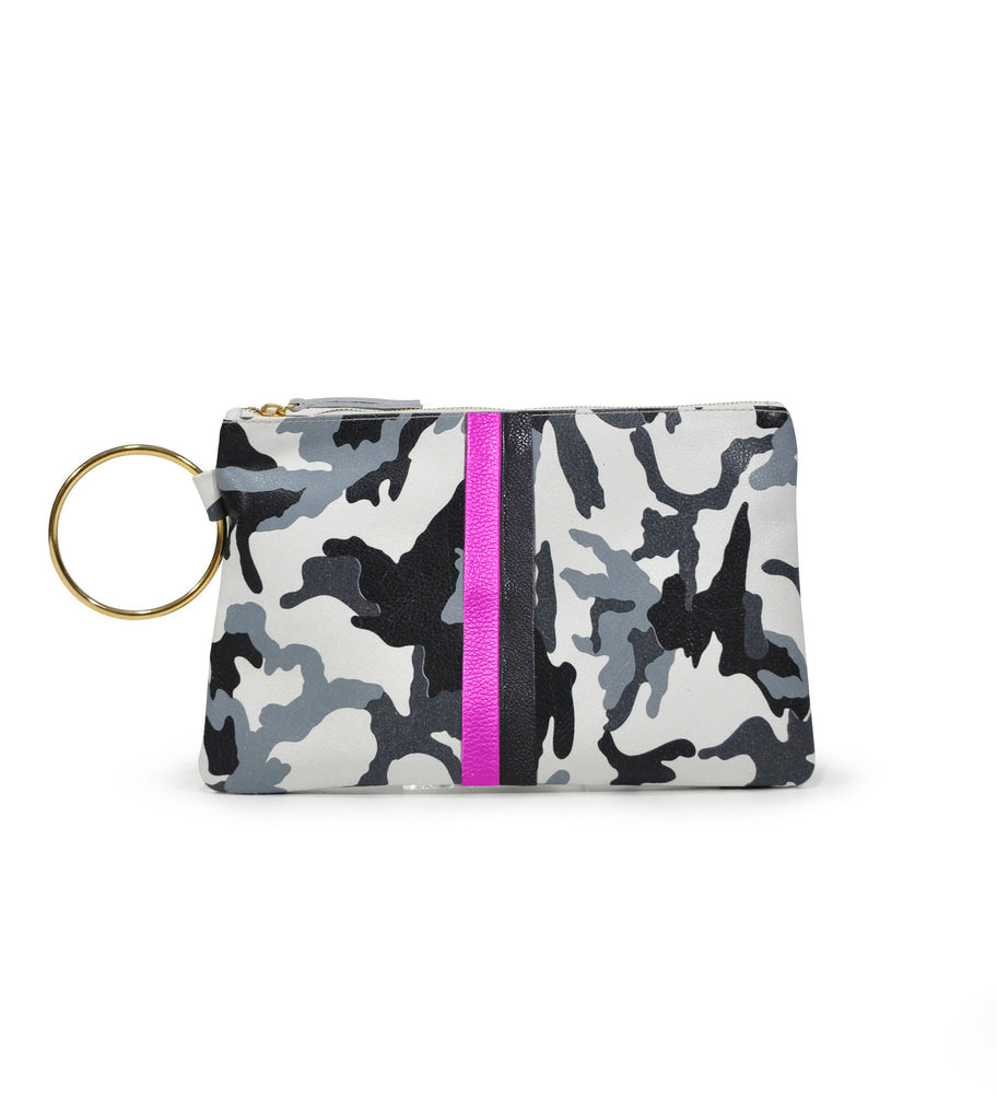 Leather Gavi Clutch - White Camo Pink and Black Stripes