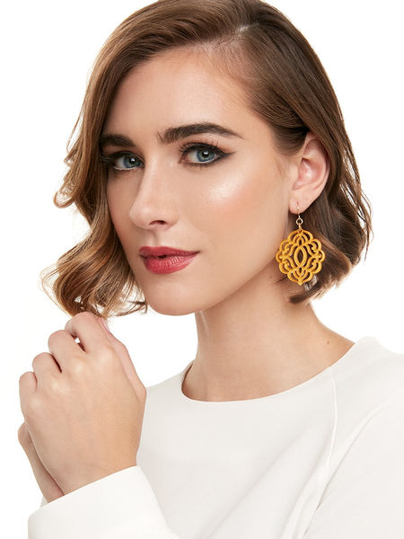 Baroque Resin Drop Earring - Black