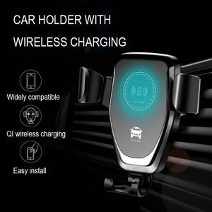 Qi wireless charger with car holder black