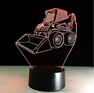 3D LED Bulldozer Night Light Red