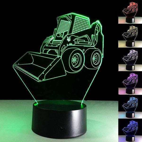3D LED Bulldozer Night Light 7 Colors