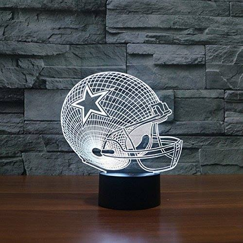 3D LED Rugby Helmet Night Light White