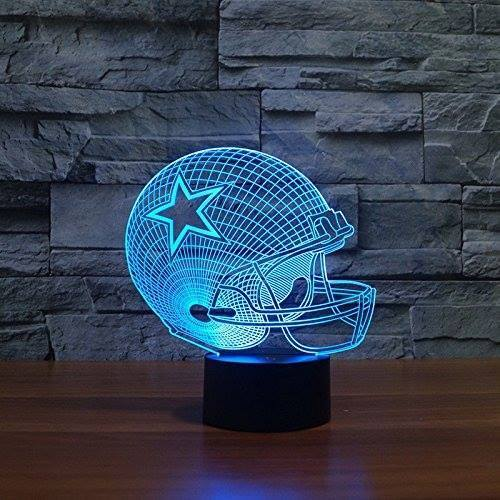 3D LED Rugby Night Light Cyan