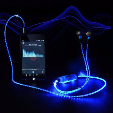 LED Glowing Earphones Blue