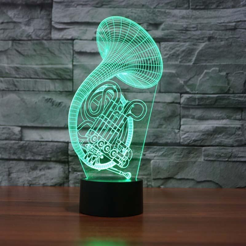 French Horn 3D LED Lamp