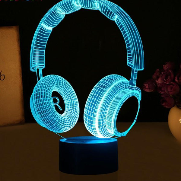 3D Magical Headset Design Night Light
