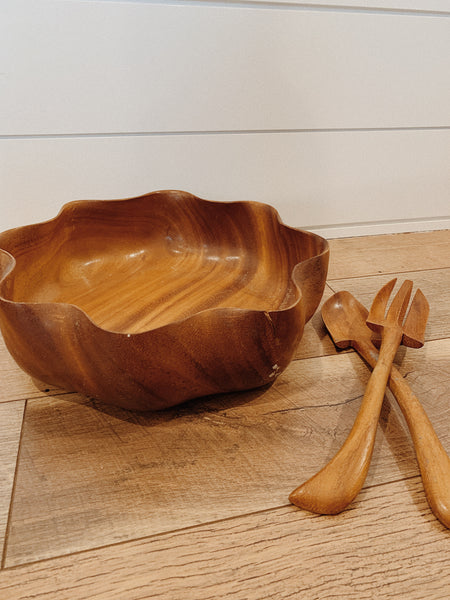 Monkeypod Salad Bowl Set