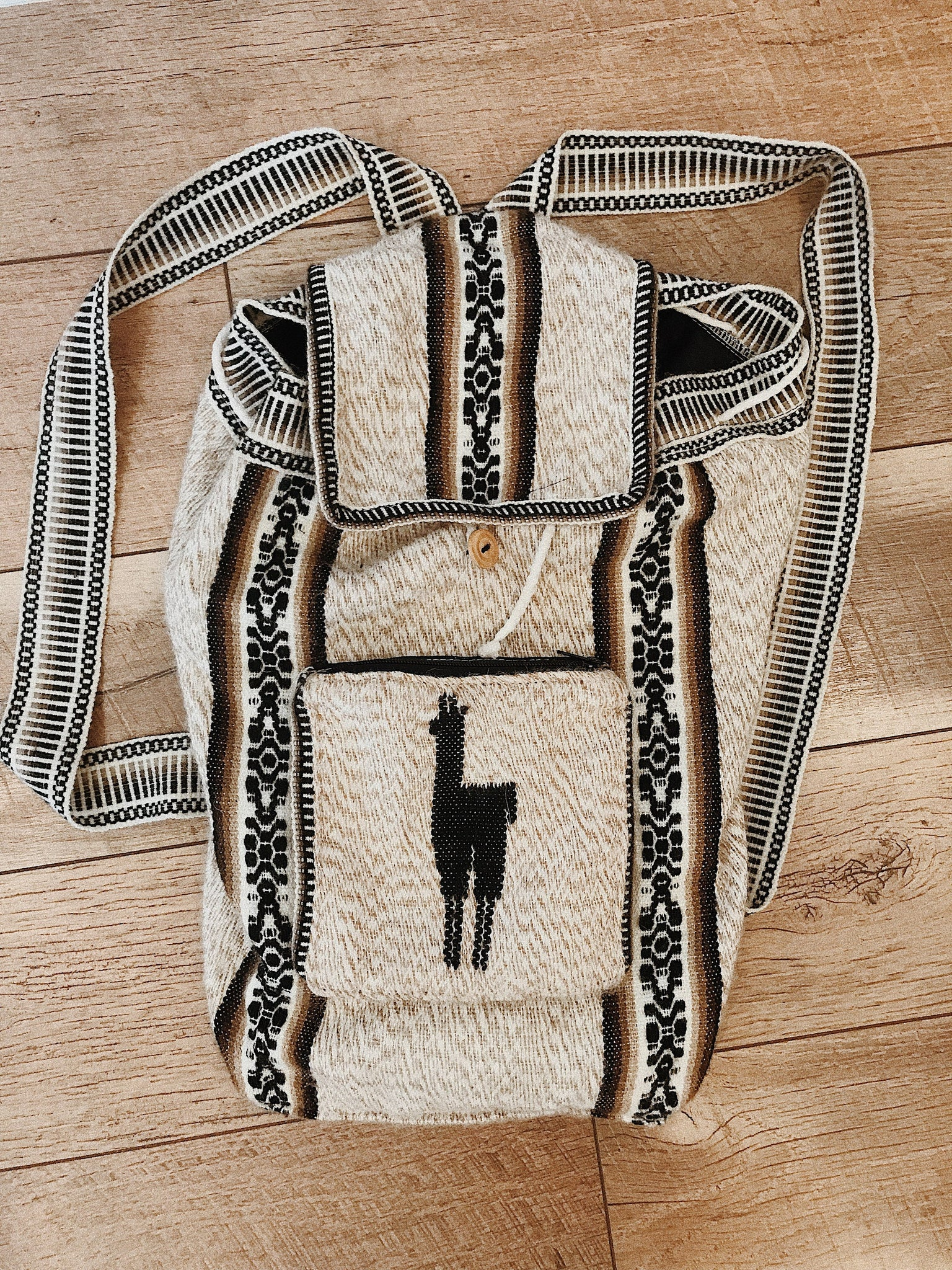 Mexican Blanket Style Backpack with Llama
