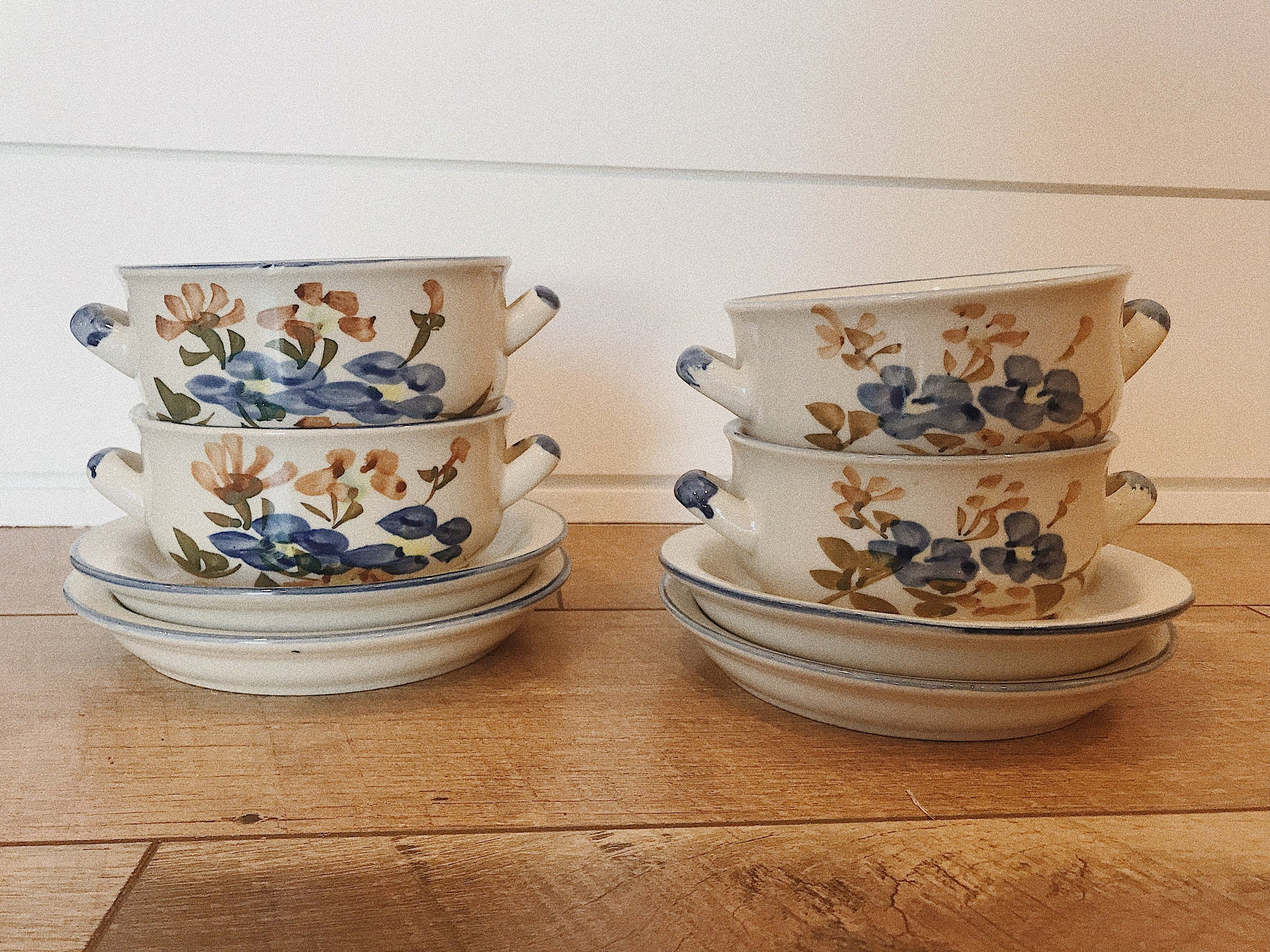 Vintage Blue Floral Soup Bowl/Crock Set