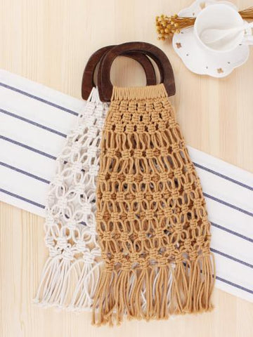 Hollow Out Tassel Wooden Handle Bags