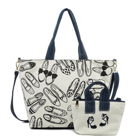 Chic Printing Zipper Hand Bags With Small Bags