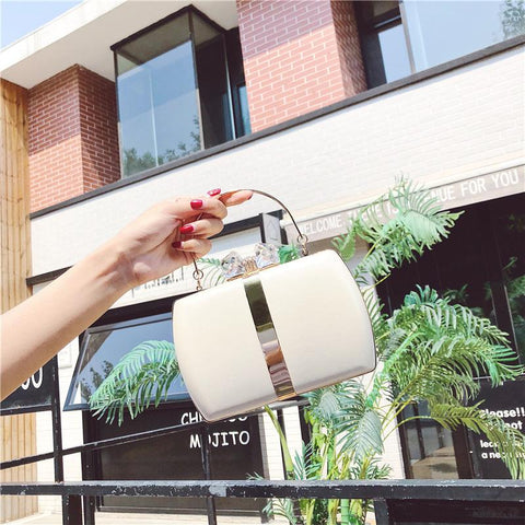 Contrast Color Exquisite Lock Handbag For Women