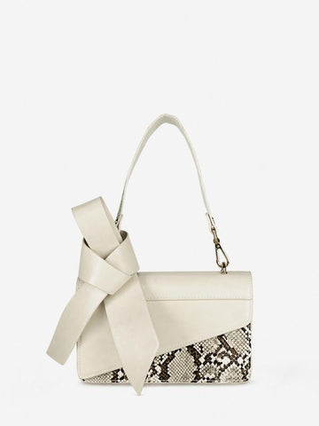 Trendy Snakeskin Bow Ladies Hand Bag