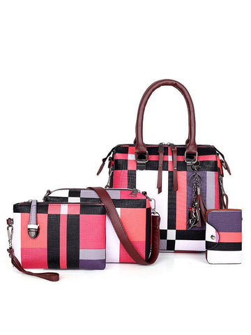 Vintage Colorblock Plaid 4 Piece Handbag