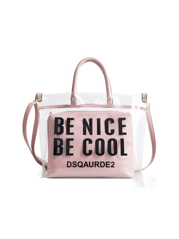 Chic Letter Printed Transparent Tote Bag