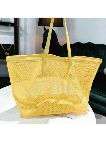 Simple Design Solid Color Hollow Out Tote Bag