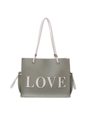 Vintage Style Letter Printed Large Tote Bag