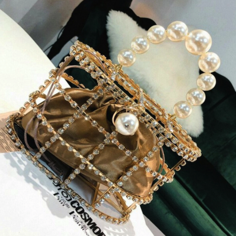Korean Style Artificial Diamond Pearl Evening Handbags