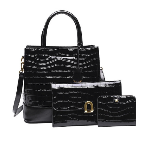 Hot Sale Alligator Pattern 3 Piece Handbag