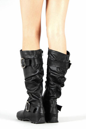 Black Knee-High Flat Boots With Buckles - LABELSHOES