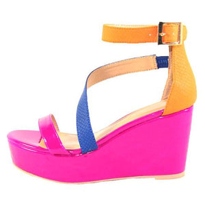Magenta Wedge Sandals - LABELSHOES