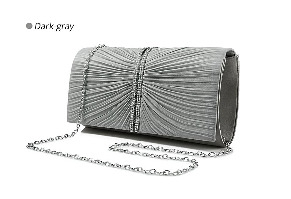 Gray Pleated Clutch - LABELSHOES