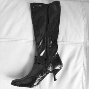 Black Patent Kitten Heels Knee-high Boots