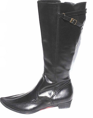 Carmen Leather Flat Boots - LABELSHOES