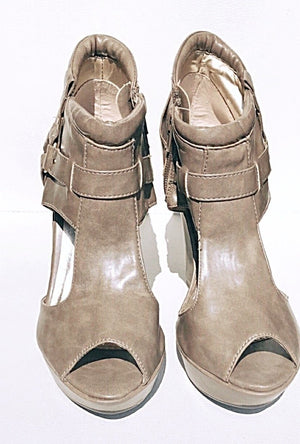 Taupe Wedge Booties Sandals-Seduced - LABELSHOES