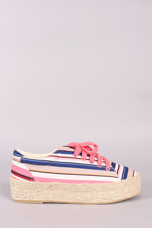 Qupid Printed Lace Up Espadrille Flatform Sneakers - LABELSHOES