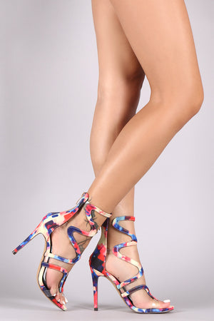 Liliana Printed Scallop Strap Open Toe Stiletto Heels