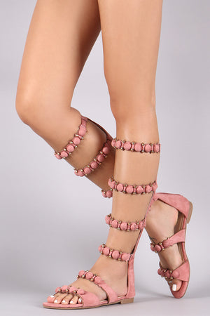 Suede Bullet And Button Accent Gladiator Flat Sandal - LABELSHOES